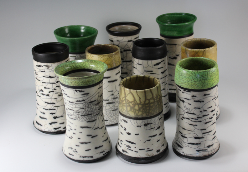 Birch Forest of Raku Pottery Vases