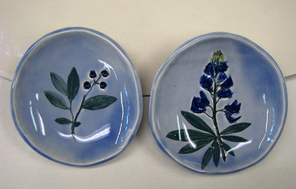 Botanicals with New Blue Background Glaze