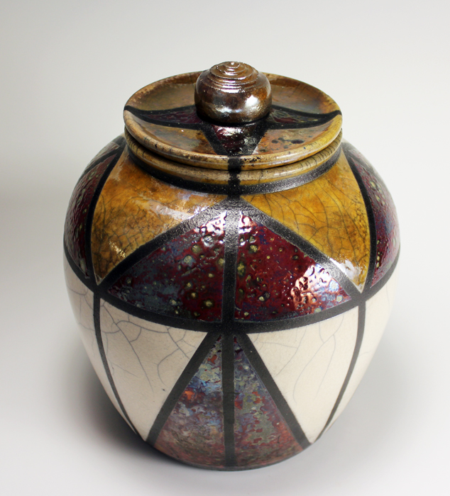 Art Deco Raku Jar with Luster Glazes