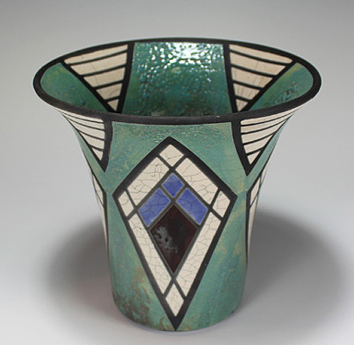Art Deco Diamonds and Triangles Raku Vase