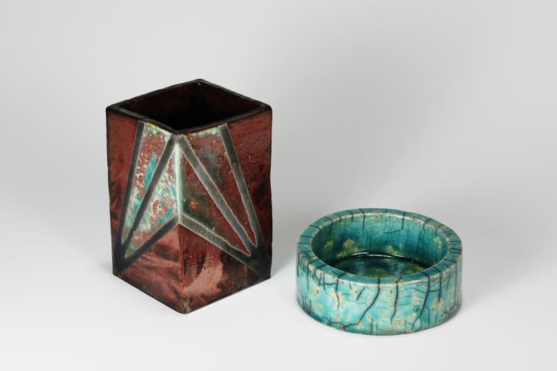 Copper and Turquoise Raku Desk Set