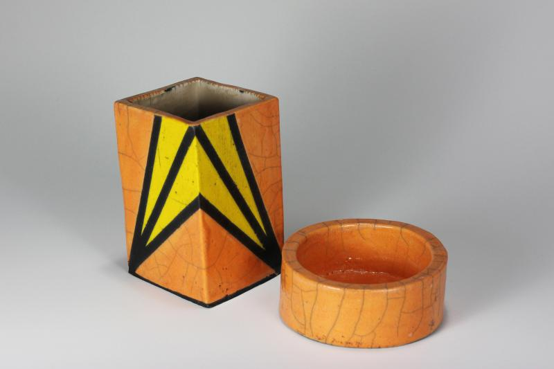 Tangerine and Yellow Raku Desk Set