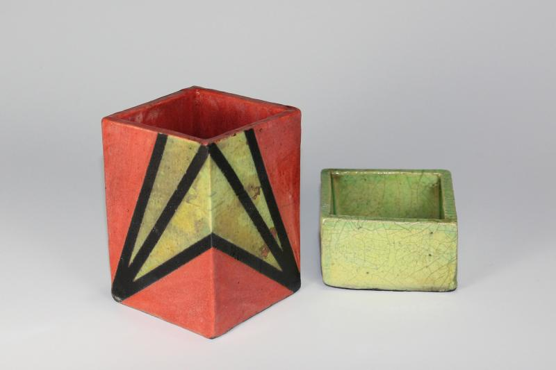 Lobster Red and Lime Green Raku Desk Set