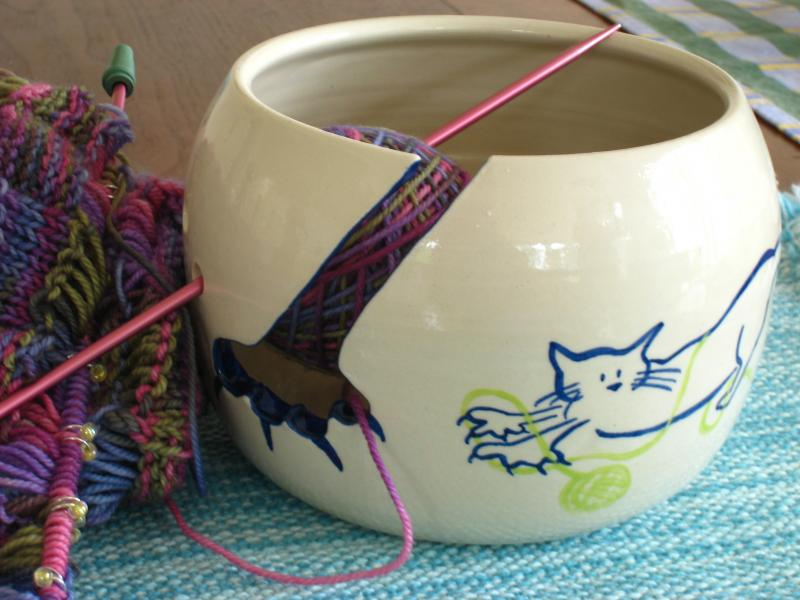 Cat Yarn Bowl with Work in Progress