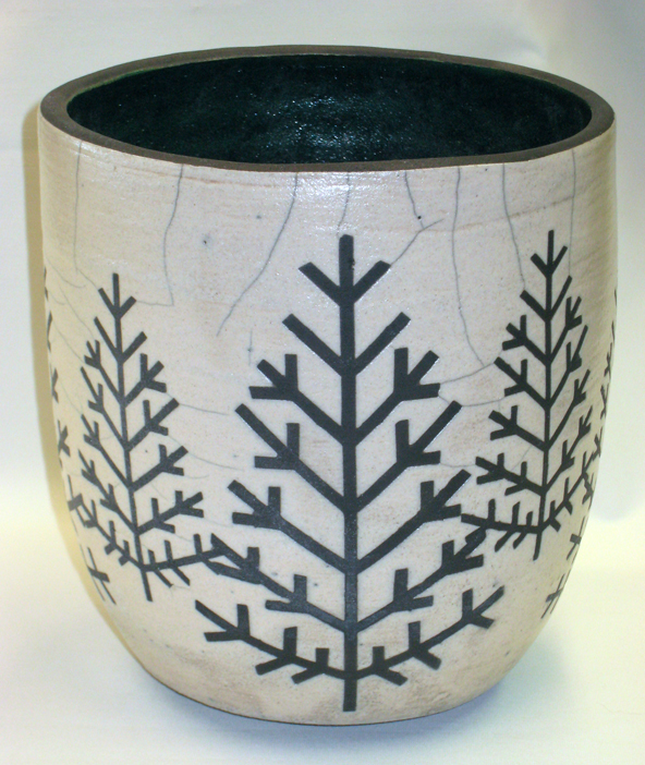 Arts and Crafts Design Pointed Firs on Raku Fired Vase RV 410
