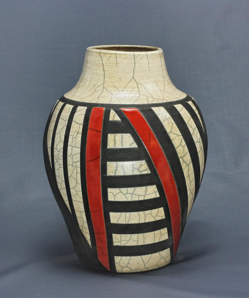 Black/White/Red Art Deco Raku Vase