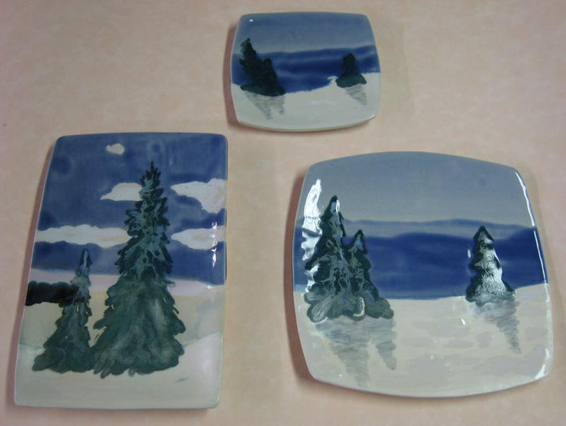 Maine Snowscapes Landscape Plates