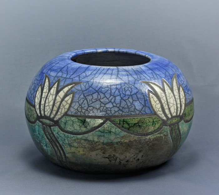 Art Deco Waterlily Raku Bowl