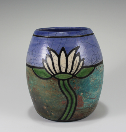 Waterlily Art Deco Raku Pottery Vase