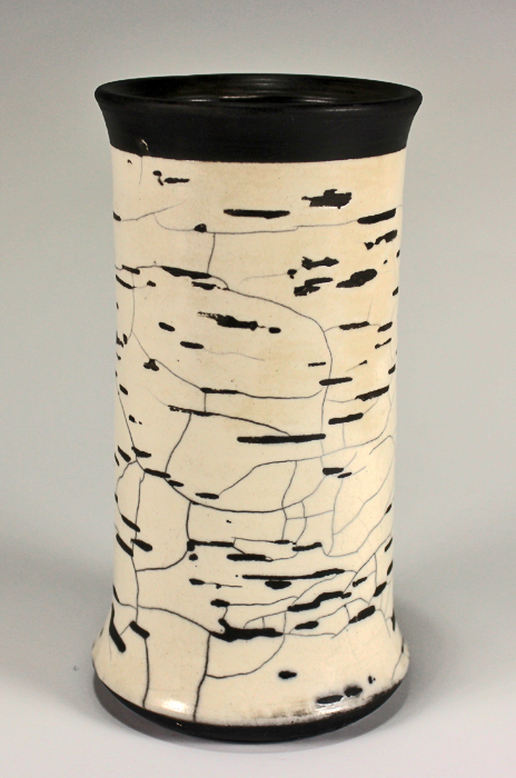 Birch Bark Winter Raku Vase